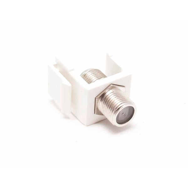 F-Type Keystone Jack Insert, White, 50 Pack