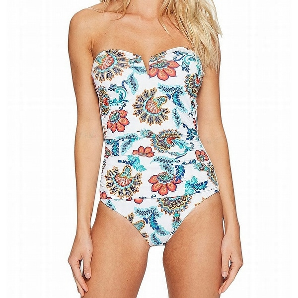 704018352b7f50 Shop Tommy Bahama White Blue Women's Size 16 One-Piece Floral Swimwear -  Free Shipping Today - Overstock.com - 26909017