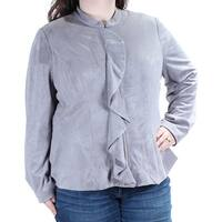 ALFANI Womens Gray Ruffled Zip Up Jacket  Size: XXL