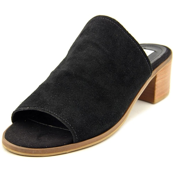 Steve Madden Richelle Women Open Toe Suede Black Slides Sandal