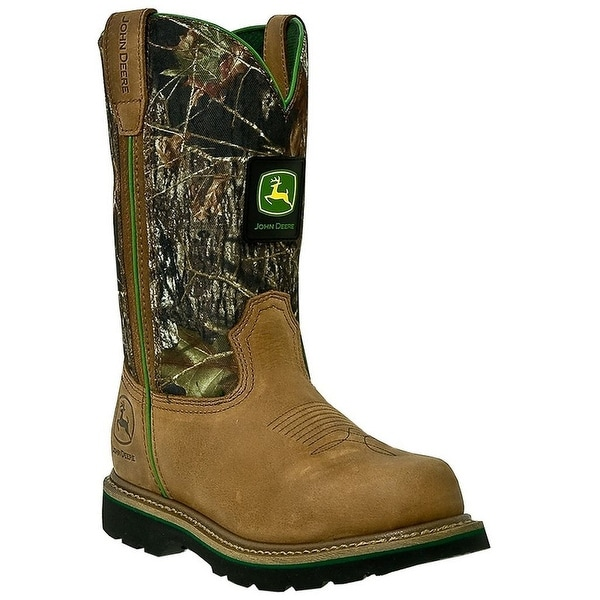 John Deere Work Boots Mens Leather Steel Toe Tan Mossy Oak