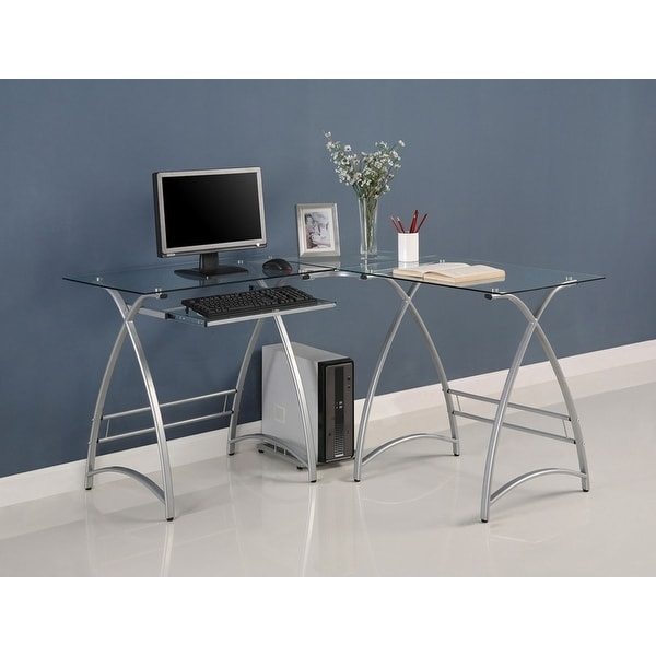 Shop Offex Glass Corner Computer Desk With Powder Coated