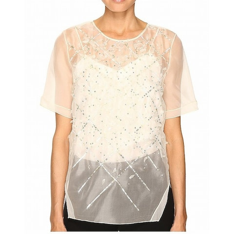 Prabal Gurung Womens Blouse White Ivory Size 2 Embroidered Illusion