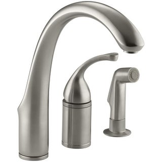 "Kohler K-10430 Forte 3-Hole Remote Valve Kitchen Sink Faucet with 9"" Spout and Sidespray"