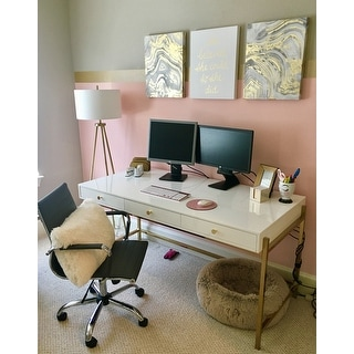 Park Avenue White And Gold Writing Desk Free Shipping
