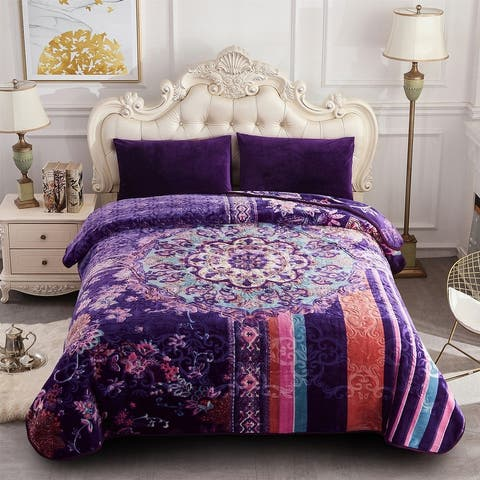 Heavy Crafted Floral Thick Winter Soft King Size Blanket 9 lbs