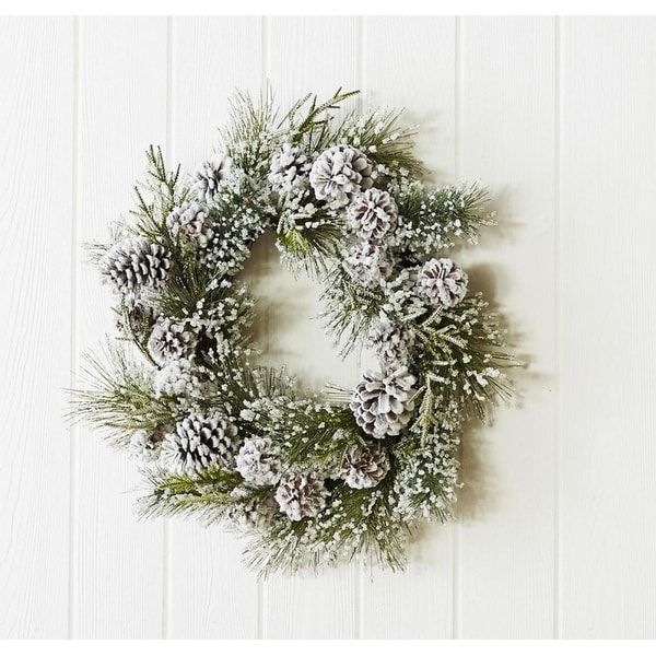 """Set of 2 Frosted Pine and Pine Cone Christmas Wreath 24"""""""