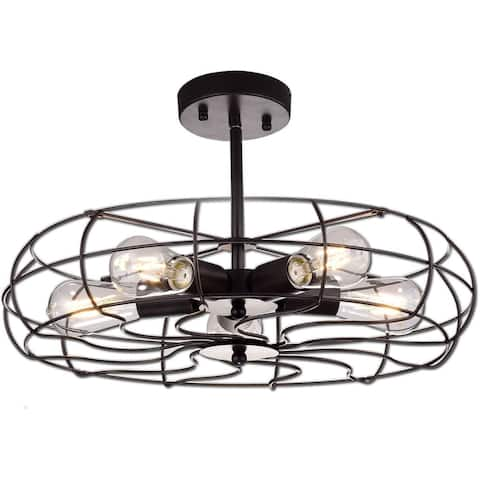 Cosenza Industrial Semi Flush Mount Ceiling Lights Large Metal Cage, 5 Lights - Oil-Rubbed Bronze