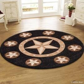 """Allstar Black Double Shot Drop-Stitch Carving Exotic Nature Themed Floral Leaf Prints. Woven Round Rug (4' 11"""" x 4' 11"""")"""