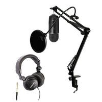 Blue Microphones Blackout Yeti Mic w/ Knox Desktop Arm, Pop Filter & Headphones