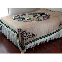 Unique Handmade 100% handloom Cotton Celtic Lovers Tapestry Tablecloth Bedspread Tan Full 88 x 106 inches