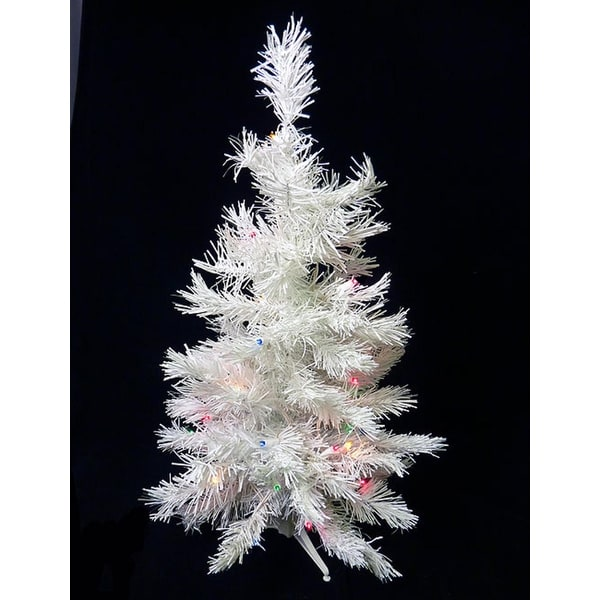 3' Battery Operated Pre-Lit LED White Pine Artificial Christmas Tree Multi Light