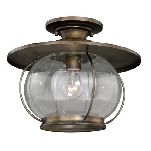 Vaxcel Lighting C0078 Jamestown 1 Light Semi-Flush Indoor Ceiling Fixture with Clear Seeded Glass and Metal Shade - 13.5 Inches