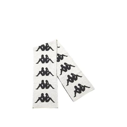 Faith Connexion Mens Black White Kappa Logo Scarf Wool Blend Accessory