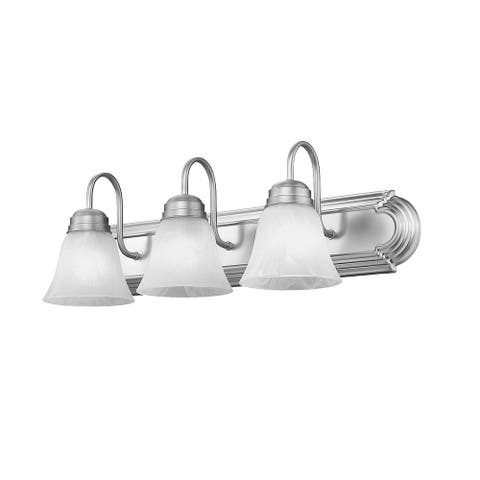 Aea 3 - Light Vanity Fixture Frosted Opal Glass Shade Silver - N/A