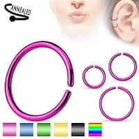 Annealed and Round Ends Titanium Anodized over Surgical Steel Cut Ring - 20GA (Sold Ind.)