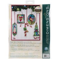 """Jingle Bell Ornaments Counted Cross Stitch Kit-8.25""""X11"""" 14 Count Set Of 5"""