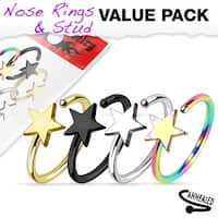4 Pcs Value Pack of Assorted Titanium IP 316L Surgical Steel Star Nose Ring