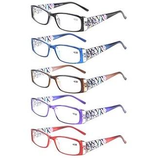 Eyekepper 5-Pack LookCrystal Aeropittura Arms Spring Hinges Womens Reading Glasses +2.0