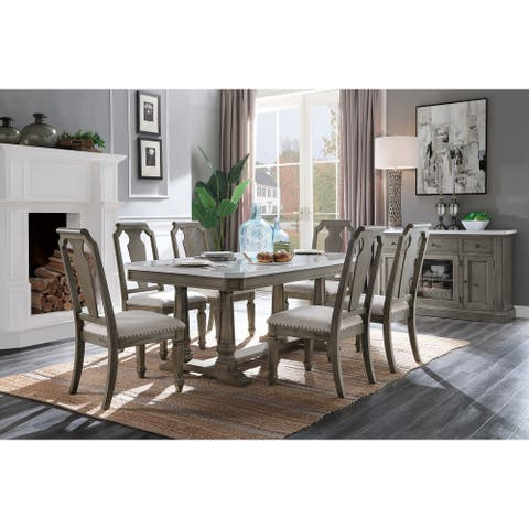 ACME Zumala Dining Table in Marble and Weathered Oak Finish