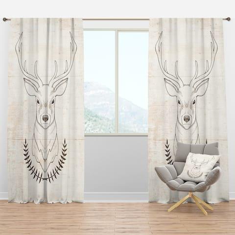 Designart 'Deer Wild and Beautiful V' Farmhouse Blackout Curtain Panel
