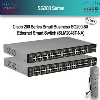 Cisco 200 Series Small Business SG200-50 Ethernet Smart Switch (SLM2048T-NA)2-PACK With Belkin PowerStrip
