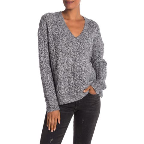 Vince Gray Womens Size Large L Cable Rib-Trim V-Neck Sweater