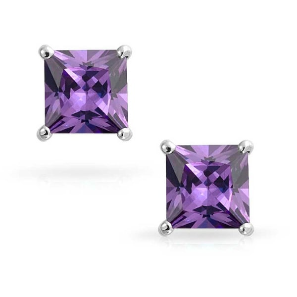 925 Sterling Silver Squared Purple CZ Post Earrings