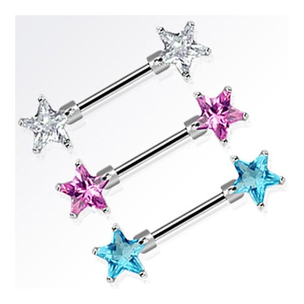 "Surgical Steel Nipple Bar with Double Star CZ - 14GA 9/16"" Long (Sold Individually)"