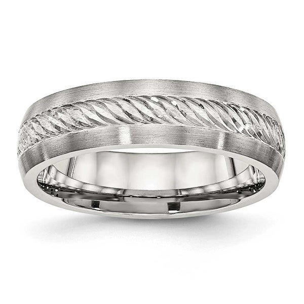 Stainless Steel Brushed with Silver D/C Inlay Ring (6 mm) - Sizes 8 - 13