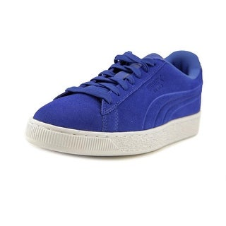 Puma Suede Classic Embossed Men  Round Toe Leather Blue Sneakers