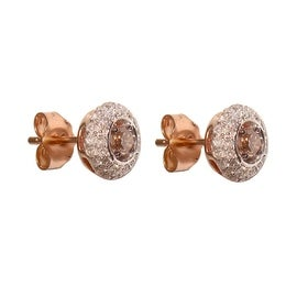 0.48 Carat Brown Diamond Surrounded With White Diamond Stud Earring With Push Back , 14k Rose Gold