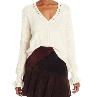 Nanette Lepore NEW White Ivory Women Size XS Knit Wool Camomile Sweater