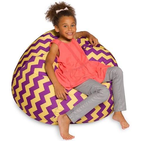 Bean Bag Chair Purple/ Yellow Chevron Bean Bag Machine Washable Cover