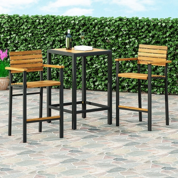 "Brampton Modern Industrial Acacia Wood Barstool (Set of 2) by Christopher Knight Home - 23.00"" W x 21.25"" D x 43.00"" H. Opens flyout."