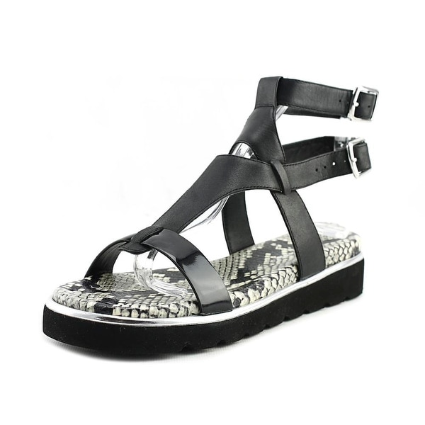 Donald J Pliner Lido 26 Women  Open Toe Patent Leather Black Wedge Sandal