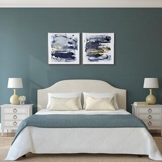 "Porch & Den ""Gray Golden Hues"" Glass Printed Wall Art with Rose Gold Aluminum Frame"