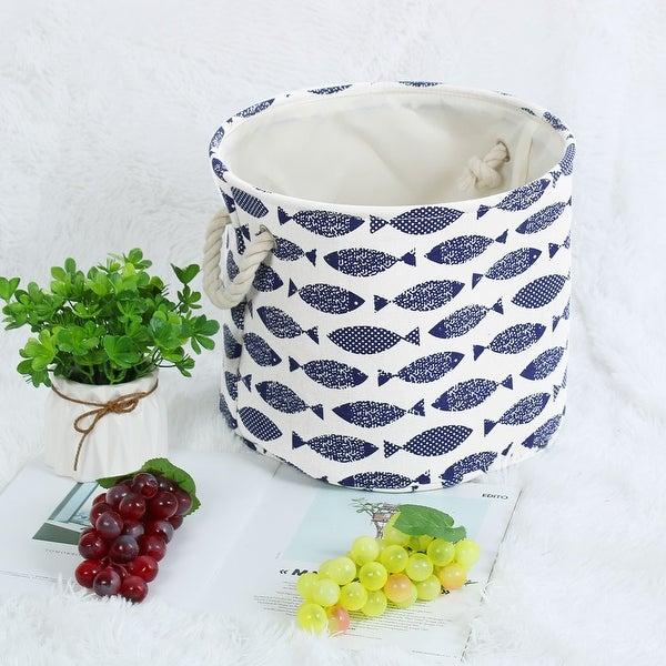 "Linen Fabric Storage Bin Toy Box Basket Organizer 13"" x 9.8"" Blue Fish Style - Blue Fish - 13"" x 9.8"""