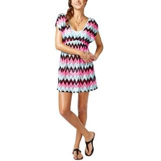 Miken Crochet Chevron Print Tunic Womens Cover Up Dress Multi-Color Medium M