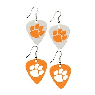 Clemson Tigers NCAA Guitar Pick Dangle Earrings Charm Gift - Set of 2