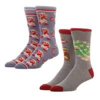 Nintendo Super Mario 2-Pack Crew Socks, 10-13