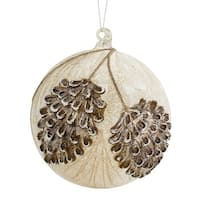 """Set of 4 Ivory White and Rustic Brown Glass Pine Cone Pattern Christmas Ornament 8"""""""
