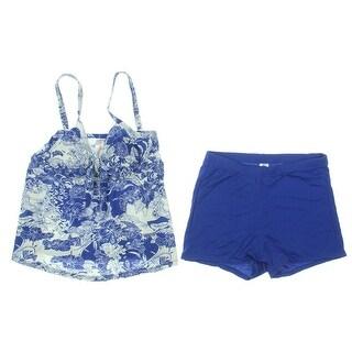 Attraco Womens Floral Print Tankini Bikini Swimsuit - 10