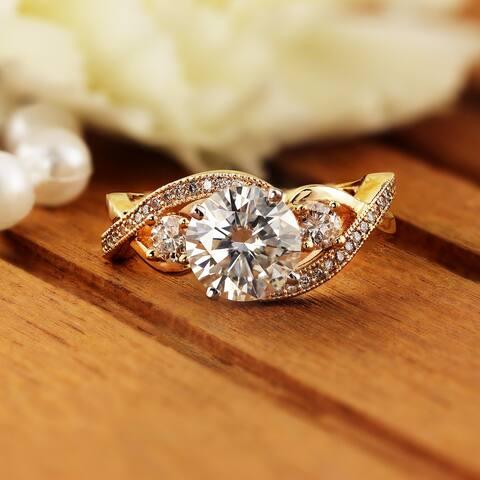 Auriya 14k Gold 2ctw Unique Moissanite 3-Stone Diamond Engagement Ring 5/8ctw