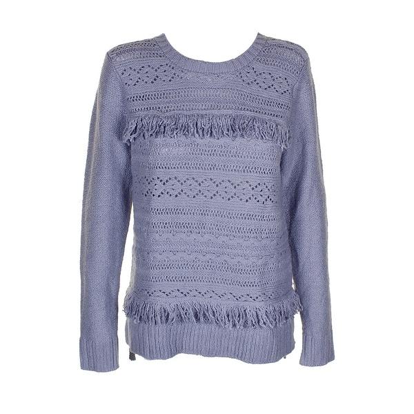 Kensie Heather Grey Fringe-Trim Sweater M