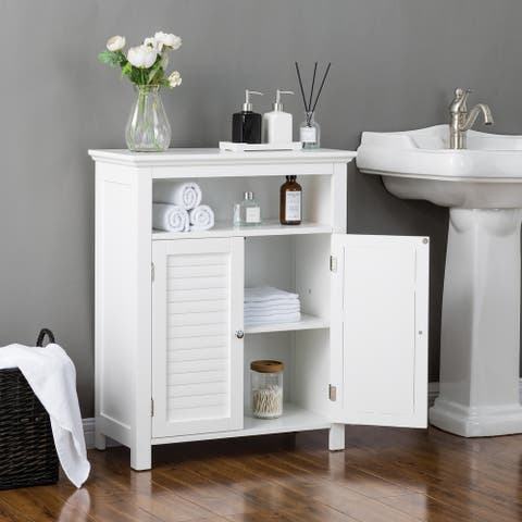 Glitzhome White Shelved Floor Cabinet with 2 Shutter-Door