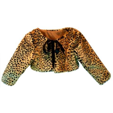Ricky Flor Girls Tan Black Leopard Ribbon Tie Stylish Faux Fur Jacket