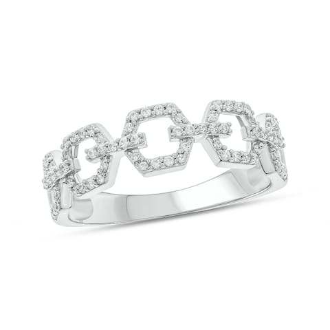 Cali Trove 1/4 Cttw Round White Diamond Sterling Silver Cuban Link Band Ring for Women