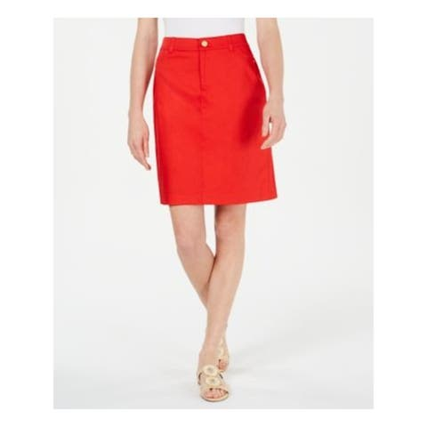CHARTER CLUB Womens Red Short A-Line Wear To Work Skort Size 16