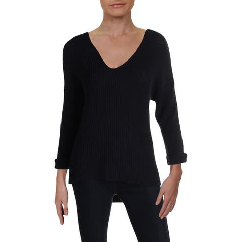 Willow & Clay Womens Sweater Double V-Neck Cable Knit - Midnight